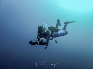 Ryan completing his PADI Sidemuont Instructor Training at Auckland Scuba